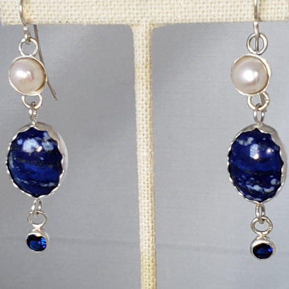 Lapis, Pearl and Sapphire Earrings