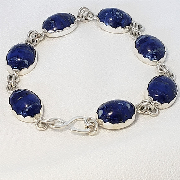 Lapis Lazuli and Sterling Silver Bracelet with Optional Magnetic Clasp