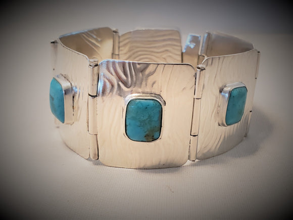 Hinged Sterling Silver and Turquoise Cuff with Box Clasp