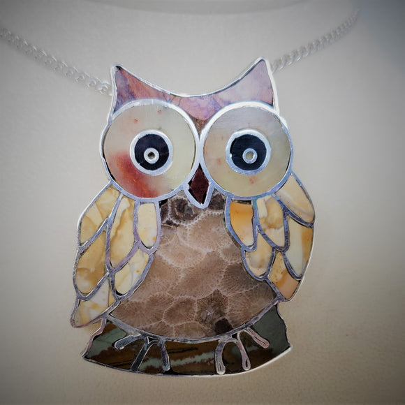 Sterling Silver Stone-inlaid Owl Pendant or Brooch