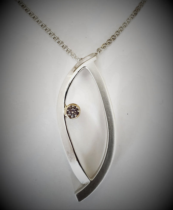 Sterling Silver and 14K Gold Pendant