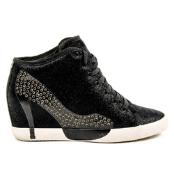Olo Womens High Sneaker 04N10 04 Dolly Leather Black Printing Strass