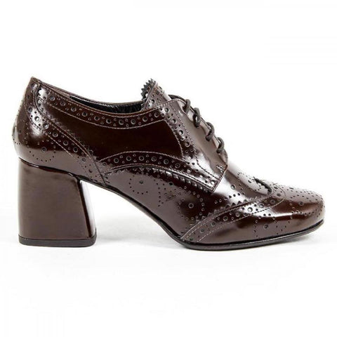 Versace 1969 Italia Womens Heeled Brogue Shoe B2460 Amalfi Morbido Brown