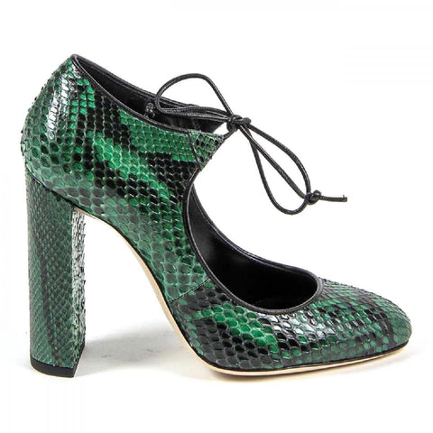 Versace 1969 Italia Womens Lace Up Pump 3111302 Pitone Verde