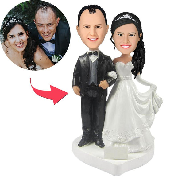 Wedding Custom Bobblehead With Engraved Text
