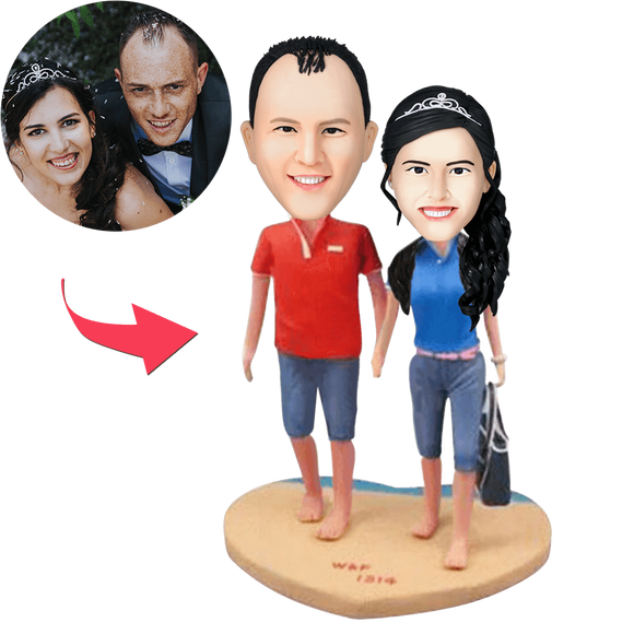 Couple On The Beach Custom Bobblehead With Engraved Text
