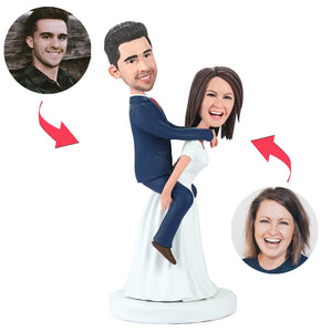 Bride Carrying The Bridegroom Custom Bobblehead With Engraved Text