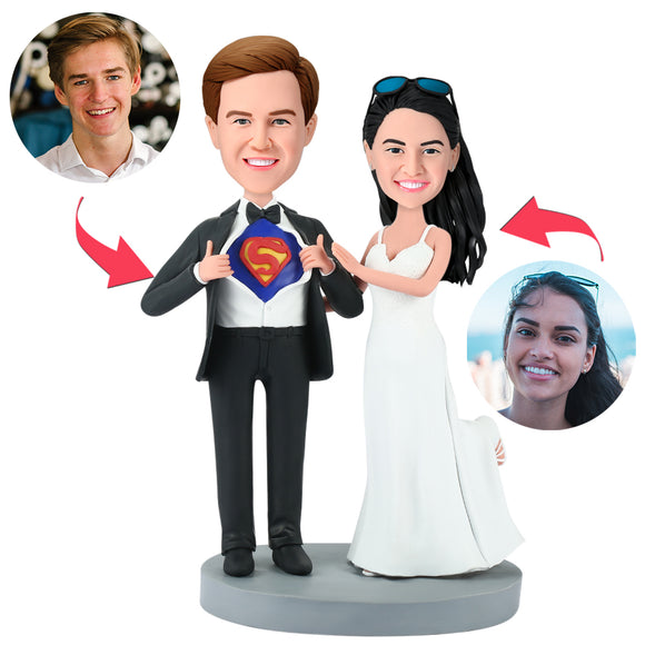 Superman Wedding Popular Custom Bobblehead With Engraved Text