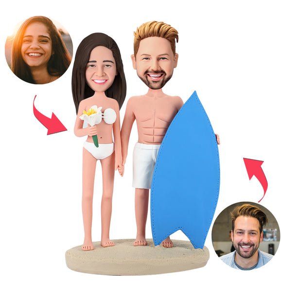 Surfing Couple Custom Bobblehead