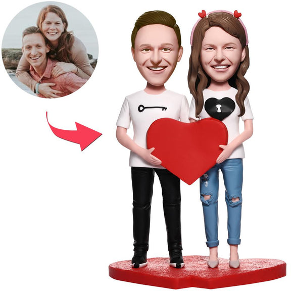 Love Lock With Heart Couple Custom Bobblehead