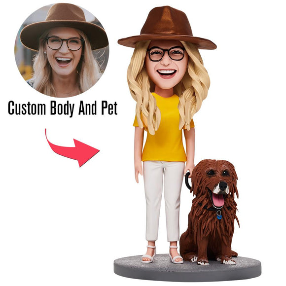 Fully Customizable Woman And Pet Custom Bobblehead With Engraved Text