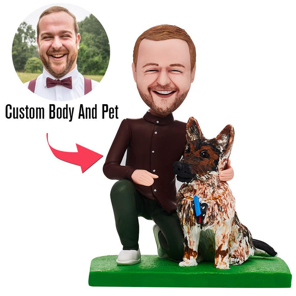 Fully Customizable Man And Pet Custom Bobblehead With Engraved Text