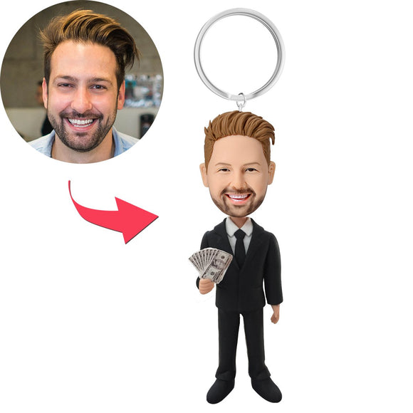 Male Executive In Black Suit Holding Money Custom Bobblehead With Engraved Text Key Chain