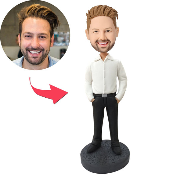 Slender Business Casual Male Custom Bobblehead With Engraved Text