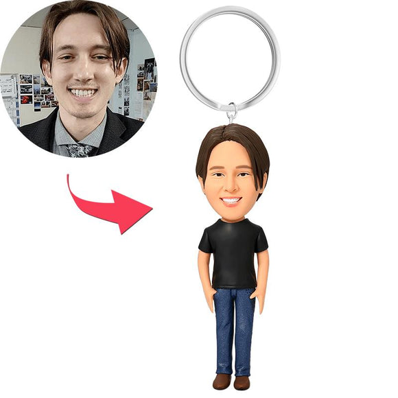 Casual Male in Jeans Custom Bobblehead Key Chain
