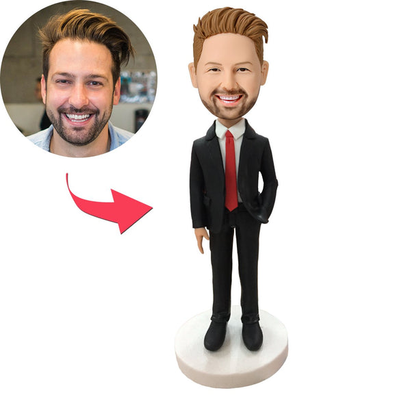 Male Executive In Red Tie Custom Bobblehead With Engraved Text
