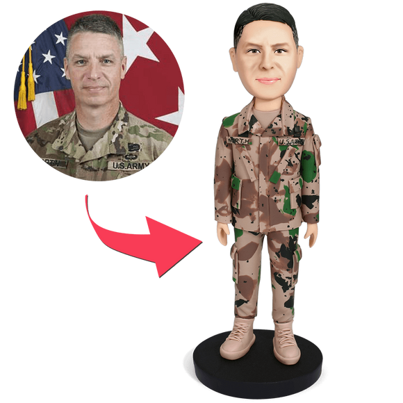 Male Soldier Custom Bobblehead With Engraved Text