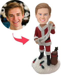 Christmas Gift Male with Merry Christmas Banner Custom Bobblehead With Engraved Text