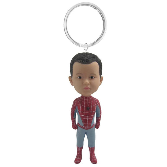 Spider-man Custom Bobblehead With Engraved Text Key Chain