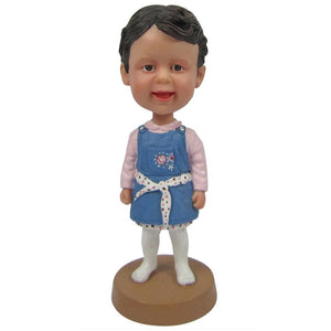 Little Girl In Blue Dress Custom Bobblehead