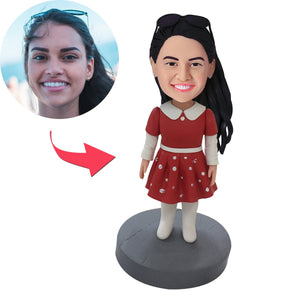 Small Girl In Red Dress Custom Bobblehead With Engraved Text