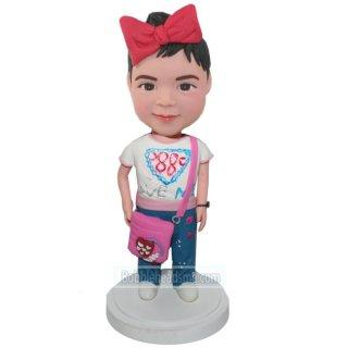 Little Girl With Pink Purse Custom Bobblehead With Engraved Text