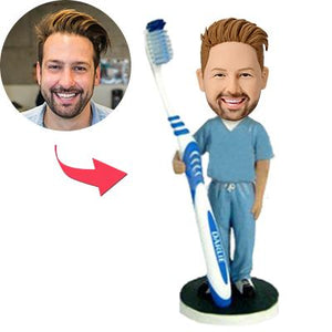 Male Dentist With A Toothbrush Custom Bobblehead With Engraved Text