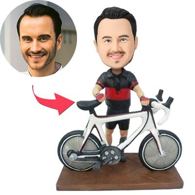 Biker With A Bike Custom Bobblehead With Engraved Text