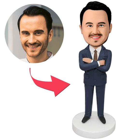 Businessman Custom Bobblehead With Engraved Text