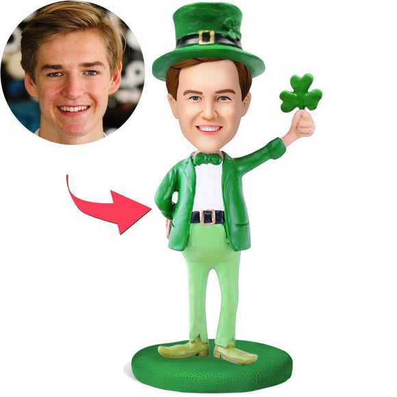 St.Patrick's Day Custom Bobblehead With Engraved Text