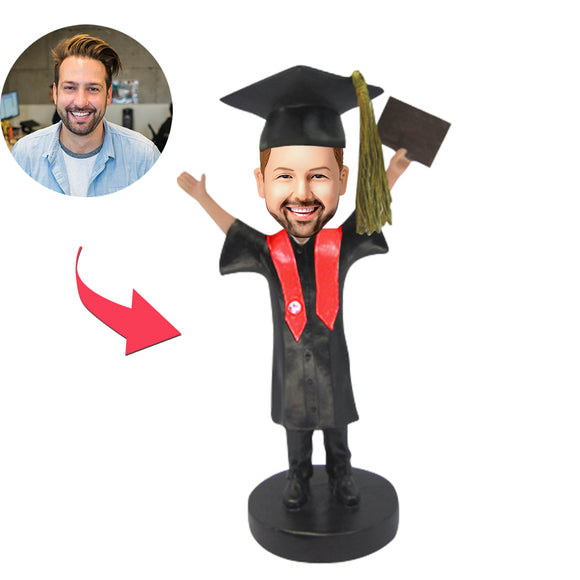 Graduation D Custom Bobblehead With Engraved Text