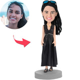Woman In Black Dress Custom Bobblehead