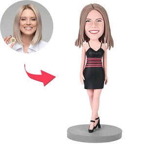 Female Wearing A Black Dress Custom Bobblehead With Engraved Text