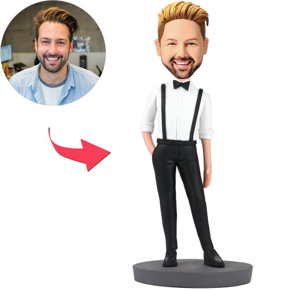 Handsome Man In Bib Pants Custom Bobblehead