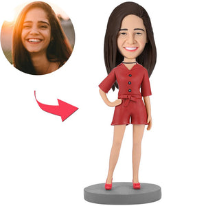 Modern Beautiful Girl In Red Suit Custom Bobblehead With Engraved Text