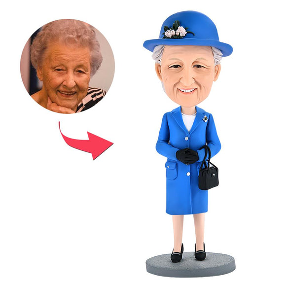 Queen Mum Custom Bobblehead With Engraved Text