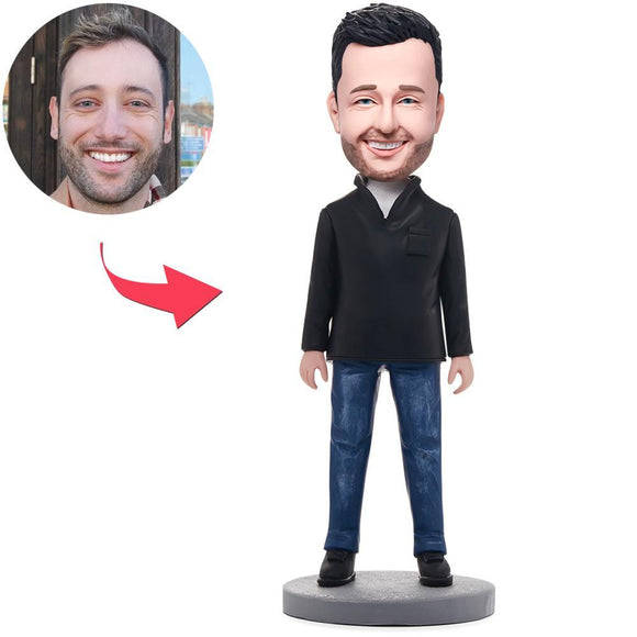 Fashion Casual Man Custom Bobblehead With Engraved Text