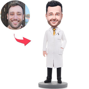 Wise Man In Lab Coat Custom Bobblehead With Engraved Text
