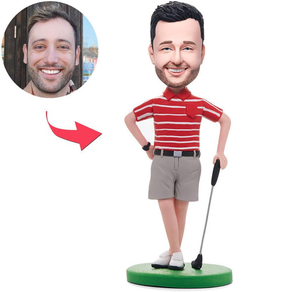 Golfer Posing In Red Shirt Custom Bobblehead With Engraved Text