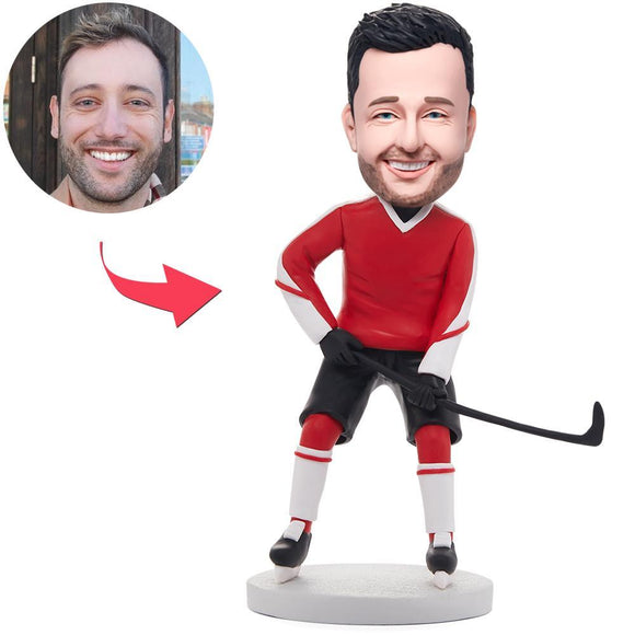 Hockey Player In Red Red Clothes Custom Bobblehead With Engraved Text