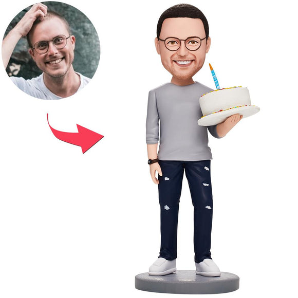 Birthday Gifts - Man Holding Birthday Cake Custom Bobblehead With Engraved Text