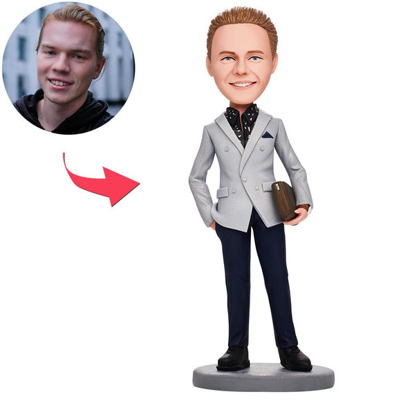 Business Man With Bag Custom Bobblehead With Engraved Text
