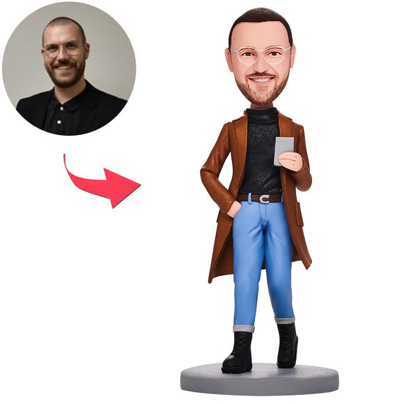 Casual Fashion Man With Phone Custom Bobblehead With Engraved Text