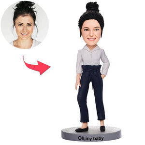 Casual Beautiful Girl Custom Bobblehead With Engraved Text