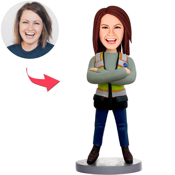 Female Worker Custom Bobblehead With Engraved Text