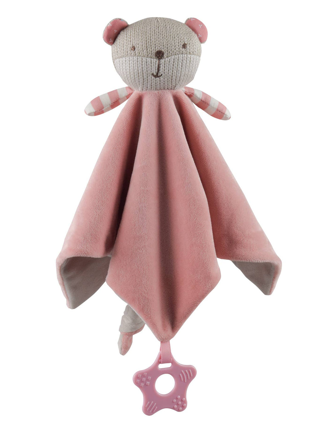 STORKI - STORKI Knitted Bear Security Blanket with Rattle and Teether