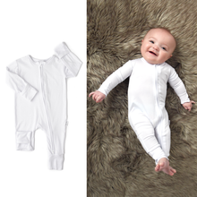 Load image into Gallery viewer, Charlie White zippered onesie