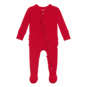 Crimson Red Ruffled Onesie