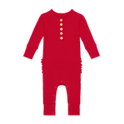 Load image into Gallery viewer, Crimson Red Ruffled Romper