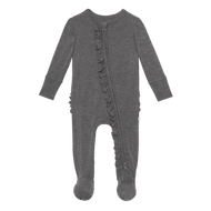 Charcoal Ruffled Footie